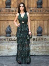 Abito da cerimonia in pizzo  - Vestito donna lungo - Verde