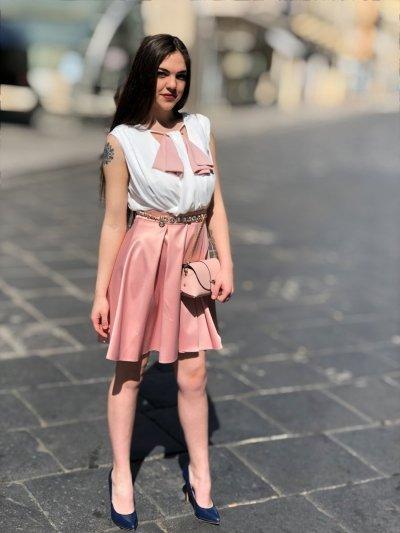 Abitino scomponibile bianco e rosa
