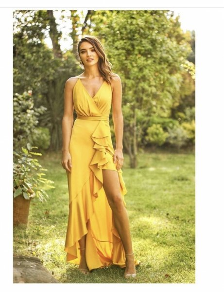 Abito lungo giallo - Cerimonia donna - Party - Gogolfun.it