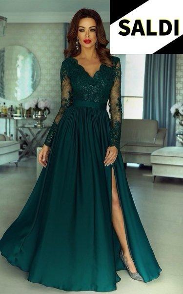 Vestito lungo elegante manica lunga - Con spacco