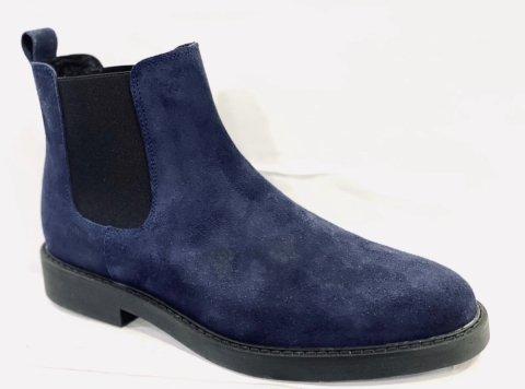 Stivaletti uomo, blu in vera pelle scamosciata  - Scarpe uomo, Made in Italy