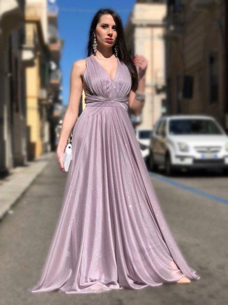 Vestito elegante - Schiena scoperta - Tessuto brillantinoso - Vestiti eleganti - Gogolfun.it