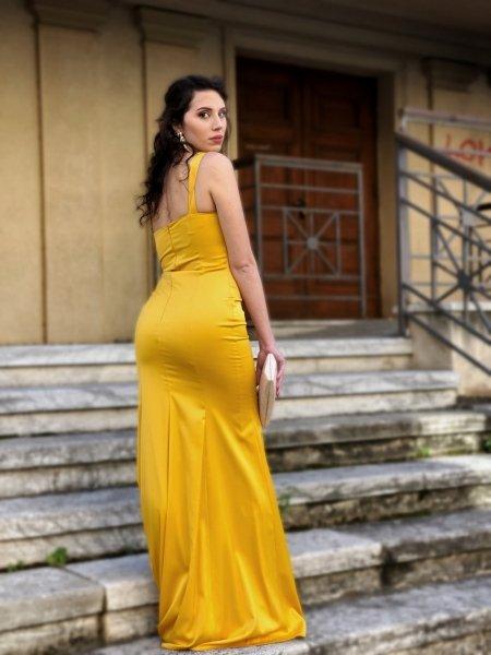 Vestito lungo con spacco - Monospalla - Giallo - Abbigliamento online - Gogolfun.it