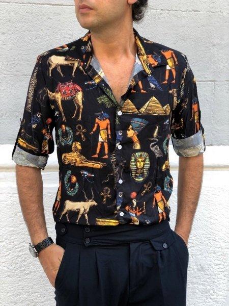 Camicia umo particolare, manica lunga - Disegni Egiziani - Camicie uomo gogolfun.it
