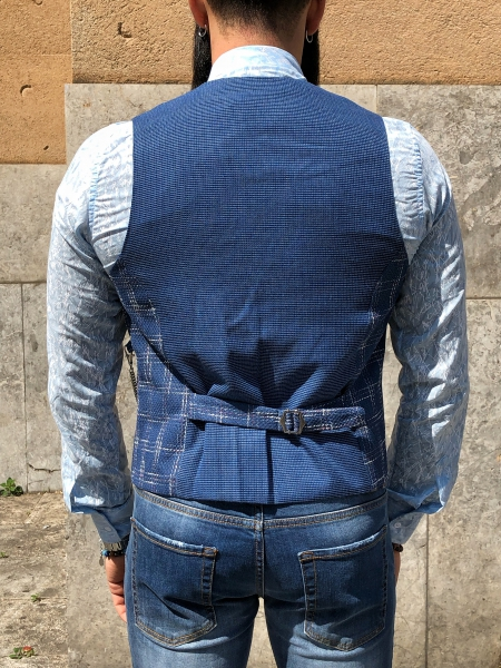 Panciotto uomo blu a quadri - Vestiti uomo - Online  - Gogolfun.it