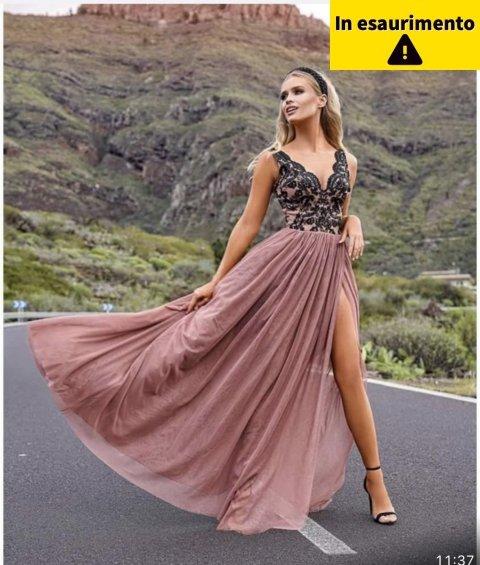 Vestito lungo elegante Moli - Con spacco - vestito elegante rosa - Gogolfun.it