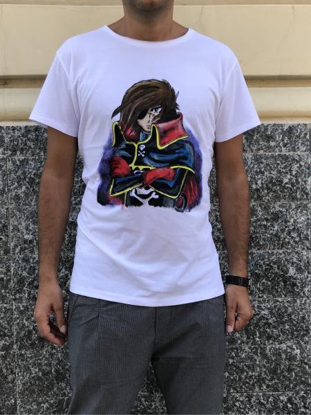 T-shirt - Capitan Harlock - 100% Cotone - Dipinta a mano!
