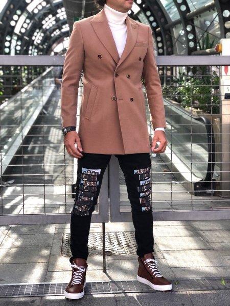 Palto męskie, dwurzędowe - Slim - kolor camelowy - Made in Italy - Odzież męska - Gogolfun.pl