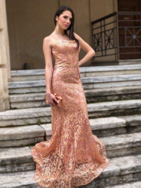 Vestito a sirena, rosa cipria - In pizzo - Abiti a sirena - Vestiti lunghi rosa - Gogolfun.it