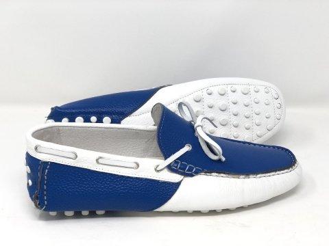 Mocassini uomo estivi, bianco e blu con laccetti - Gogolfun.it