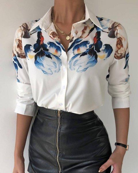 Camicia Donna bianca -  Elegante - Fantasia floreale
