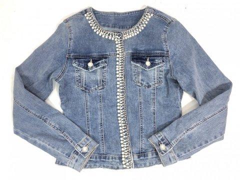Giubbino di jeans donna - Giubbotto jeans, con perline