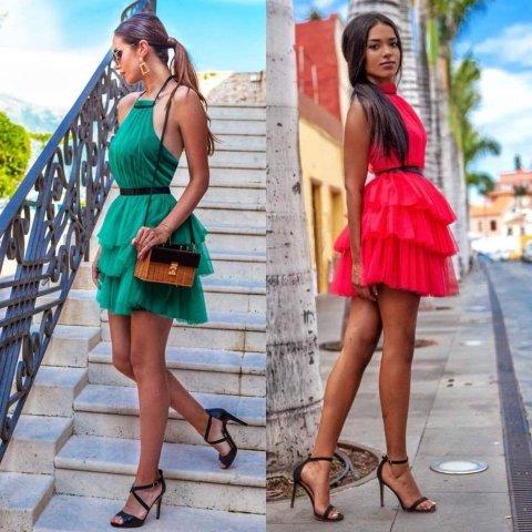 Vestito corto verde - In tulle - Vestito elegante gogolfun.it
