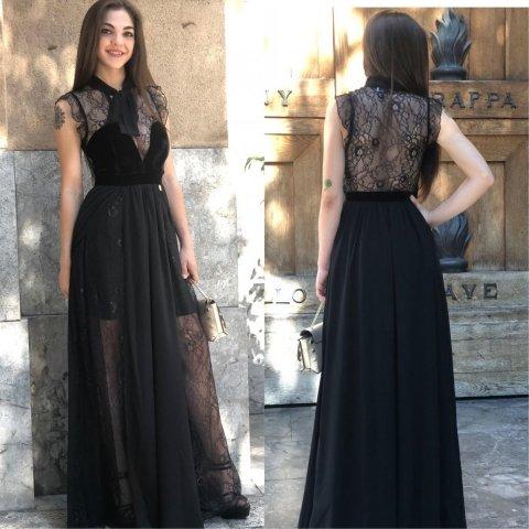 Abito lungo nero - Vestito elegante pizzo - Abito  donna velluto - Gogolfun.it