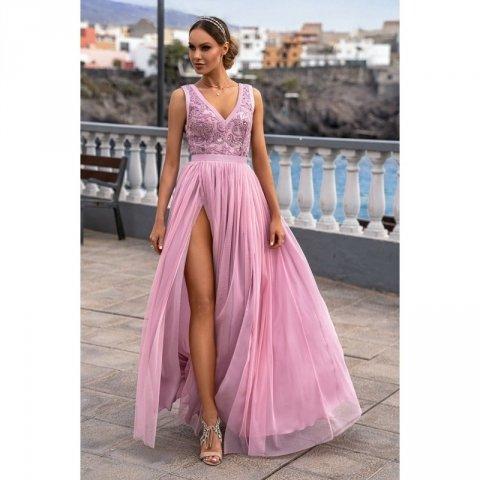 Vestito lungo elegante, rosa - Doppio spacco - Vestiti da cerimonia - Gogolfun.it