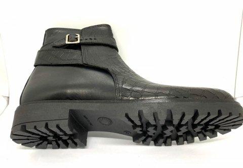 Stivaletto uomo, pelle effetto coccodrillo  nero - Vera pelle, Made in Italy