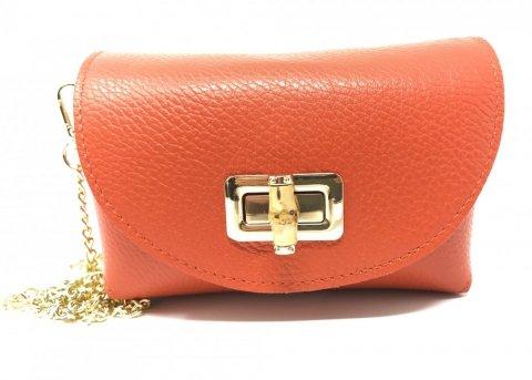 Borsa donna Bell - Pochette Arancione - Vera pelle - Tracolla