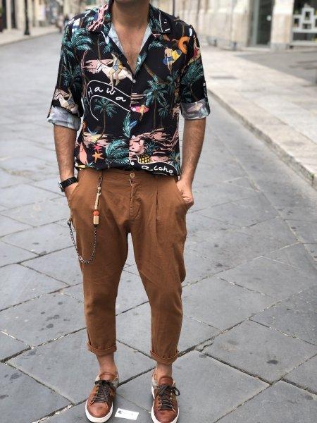 Camicia uomo fantasia - Hawaii - Nera