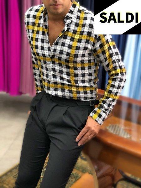 Camicia a quadri - Slim - Primaverile -  Nera e gialla - Camicie a quadri - Gogolfun.it