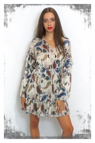 Vestiti corti fantasia - Abbigliamento donna gogolfun.it    -   Damska sukienka w kwiaty- Krótka - Długi rękaw - Made In Italy - Gogolfun.pl