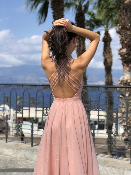 Abiti da sera - Vestito rosa cipria - Abiti eleganti donna - Gogolfun.it
