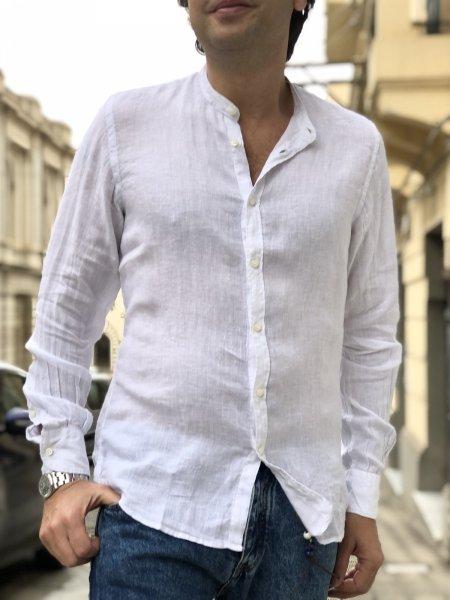 Camicia bianca lino - Bianca - Collo coreano - Key Jey - Gogolfun.it