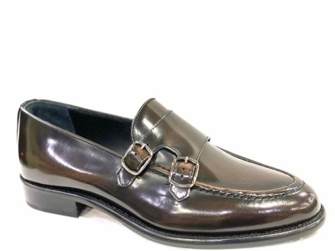 Mocassini marroni, in pelle lucida - Scarpe uomo, con fibbia - Gogolfun.it