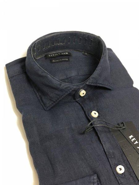 Camicia di lino - Blu  - Maniche lunghe - Key Jey - Camicie di lino - Gogolfun.it
