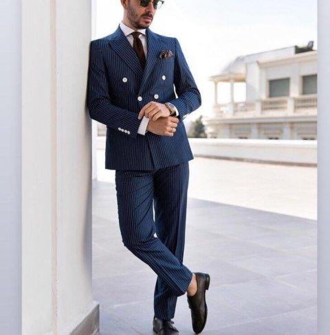 Abito doppiopetto - Blu - Gessato - Abiti uomo - Vestiti uomo eleganti - Gogolfun.it
