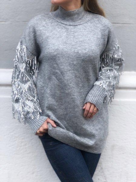 Maglioncino donna, grigio con maniche con paillettes