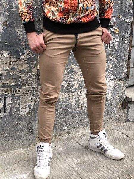 Pantaloni tuta, beige - Pantaloni uomo, con coulisse
