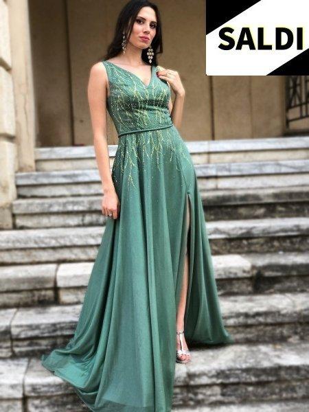 Vestito elegante - Lungo - Con spacco - Verde - Cerimonia donna - Gogolfun.it