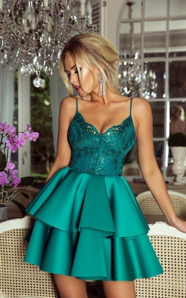 Vestito corto elegante - A palloncino - Verde - Vestiti corti - Gogolfun.it