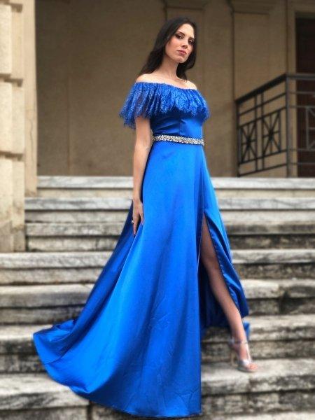 Vestito elegante - Scollo a baca - Blu cobalto -Vestito blu - Vestiti eleganti - Gogolfun.it