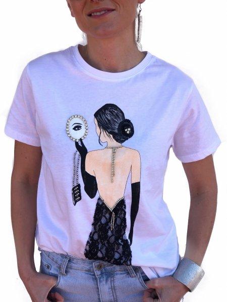 T shirt donna Bianca - Con stampa vintage - Gogolfun.it