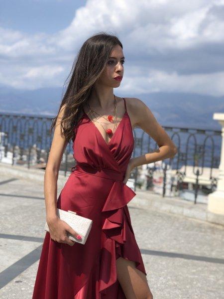 Vestito Marlyn rosso - Abito con spacco