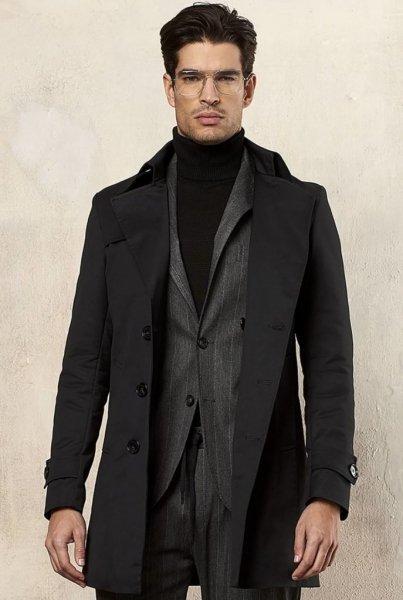 Płaszcz męski, zimowy - Czarny - Trencz - Made in Italy - Odzież męska - Gogolfun.pl