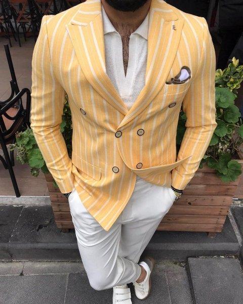 Giacca doppiopetto gialla - Gessato, giallo - Gogolfun.it