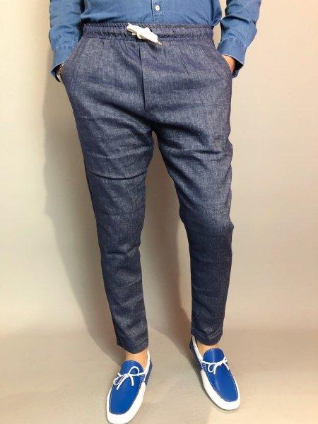 Paul Miranda - Pantaloni lino uomo - Blu