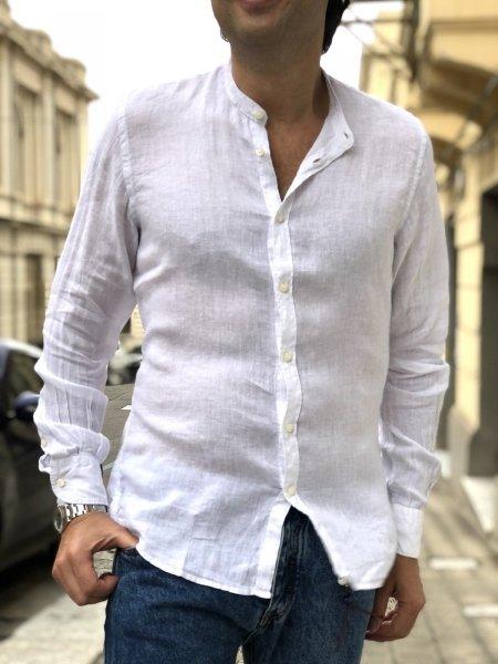Camicia bianca lino - Bianca - Collo coreano - Key Jey - Camicie di lino - Gogolfun.it