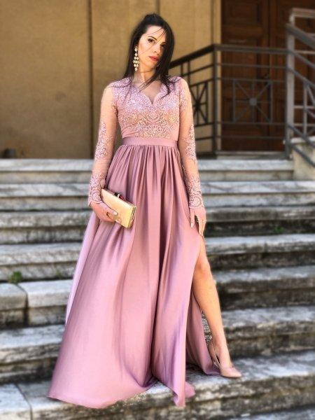 Vestito rosa, elegante - Con manichetta - Mary
