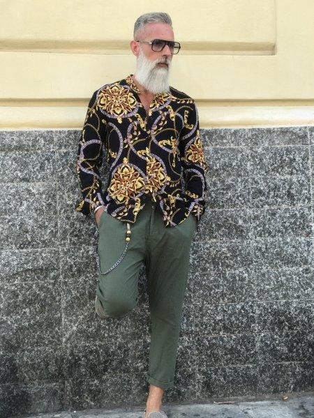 Camicia uomo fantasia - Coreana - Stampa Versace