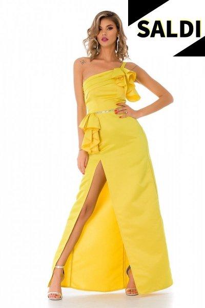 Vestito giallo - Elegante - Con spacco - Monospalla