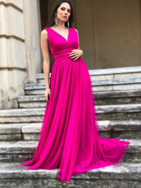 Vestito lungo elegante, fuxia - In tulle - Vestiti fuxia - Gogolfun.it