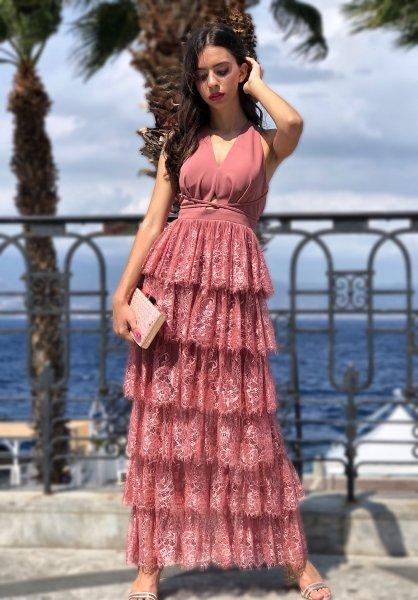 Vestito elegante pizzo - Vestito lungo rosa antico - Gogolfun.it