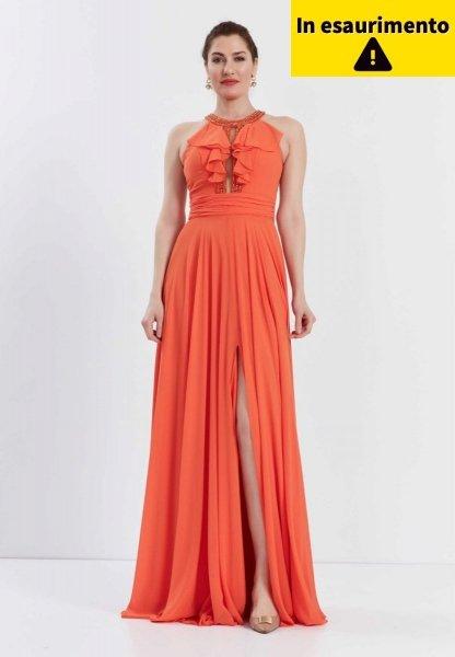 Vestito da cerimonia - Arancione - Con spacco - Abiti arancioni - Gogolfun.it