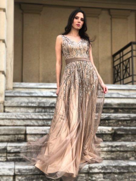 Vestito oro - Oro lungo elegante - Corpetto decorato - Abiti oro - Cerimonia - Gogolfun.it