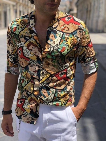Camicia uomo particolare, collo coreano