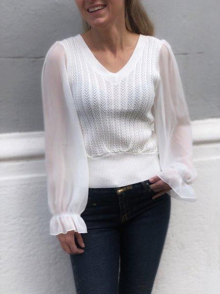 Maglioncino donna, bianco con maniche trasparenti