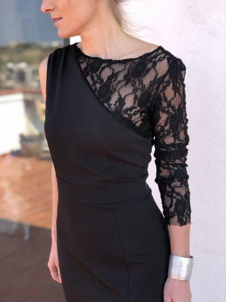 Vestito elegante - Abito in pizzo - Vestito nero- Gogolfun.it